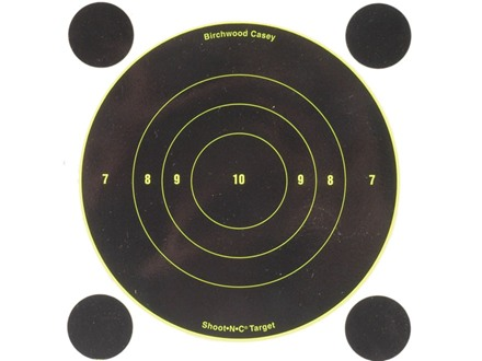 "Birchwood Casey Shoot-N-C Target 6"" Bullseye Package of 12 with 48 Pasters"