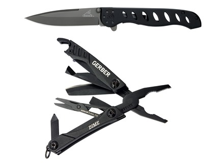 Gerber EVO Jr Folding Knife Black & Dime Multi-Tool Black Combo