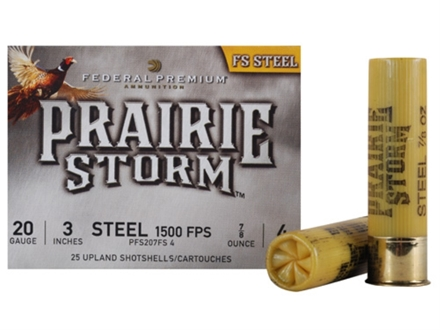 "Federal Premium Prairie Storm Ammunition 20 Gauge 3"" 7/8 oz #4 Steel Shot Box of 25"