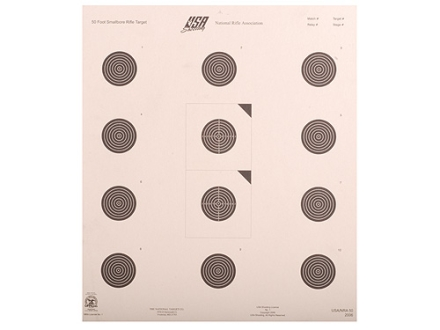 NRA Official Smallbore Rifle Targets USA/NRA-50 50-Foot Paper Package of 100