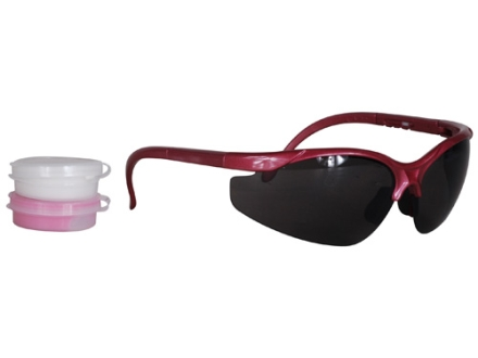 Radians Pink Shooter's Kit Smoke Lens Silver and Pink Frame with Pink Custom Molded Ear Plugs