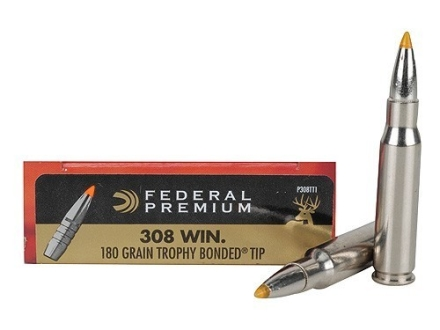 Federal Premium Ammunition 308 Winchester 180 Grain Trophy Bonded Tip Box of 20