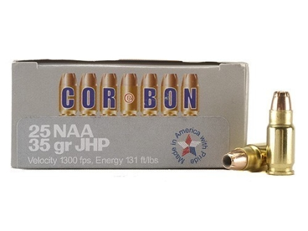 Cor-Bon Self-Defense Ammunition 25 North American Arms (NAA) 35 Grain Jacketed Hollow Point Box of 20