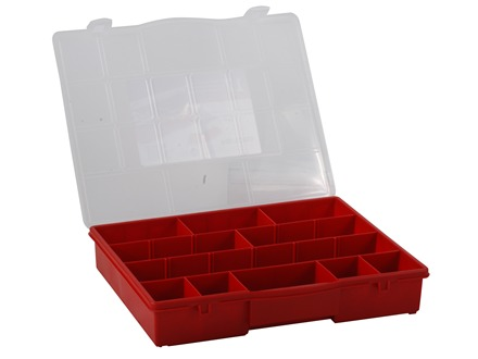 Stack-On Parts Storage Organizer 17-Compartment Red With Clear Lid