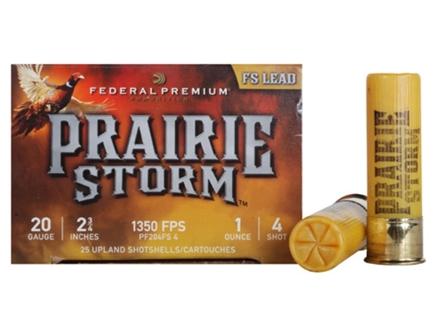 "Federal Premium Prairie Storm Ammunition 20 Gauge 2-3/4"" 1 oz #4 Plated Shot Shot Box of 25"