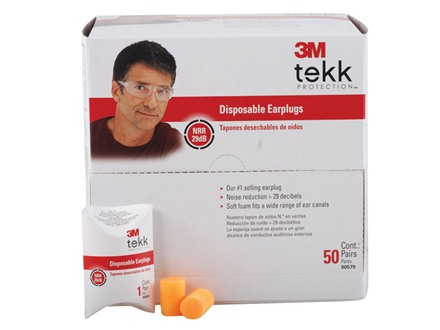 3M Tekk Disposable Ear Plugs (NRR 29 dB) 50 Pair