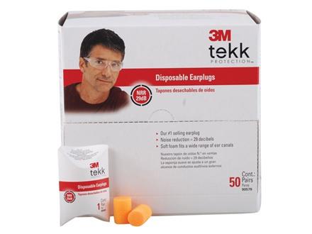 3M Tekk Disposable Ear Plugs (NRR 29 dB) 50 Pair