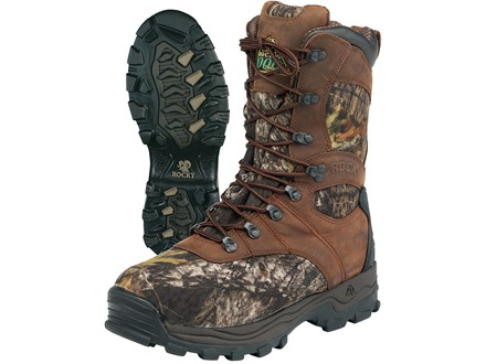 "Rocky Sport Utility Max 9"" Waterproof 1000 Gram Insulated Hunting Boots Leather and Nylon Brown and Mossy Oak Break-Up Camo Men's 12 D"