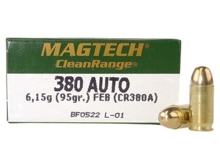 Magtech Clean Range Ammunition 380 ACP 95 Grain Encapsulated Round Box of 50