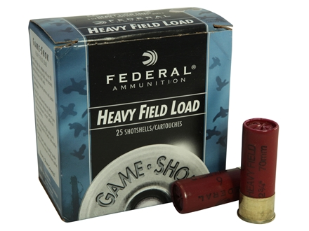 "Federal Field-Shok Heavy Game Load Ammunition 12 Gauge 2-3/4"" 1-1/4 oz #6 Shot Box of 25"