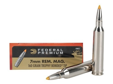 Federal Premium Ammunition 7mm Remington Magnum 160 Grain Trophy Bonded Tip Box of 20