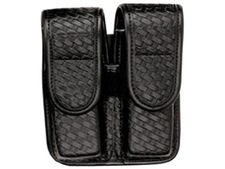 Bianchi 7902 AccuMold Elite Double Magazine Pouch Single Stack 9mm, 45 ACP Hidden Snap Basketweave Trilaminate Black