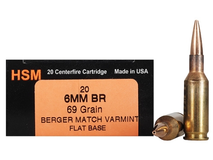 HSM Varmint Gold Ammunition 6mm BR (Bench Rest) 69 Grain Berger Varmint Hollow Point Flat Base Box of 20