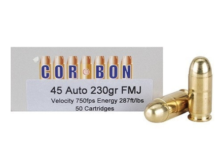 Cor-Bon Performance Match Ammunition 45 ACP 230 Grain Full Metal Jacket Box of 50