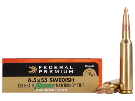 Federal Premium Gold Medal Ammunition 6.5x55mm Swedish Mauser 123 Grain Sierra MatchKing Hollow Point Boat Tail Box of 20