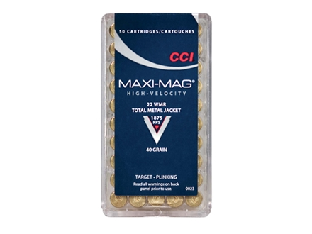 CCI High Speed Maxi-Mag Ammunition 22 Winchester Magnum Rimfire (WMR) 40 Grain Total Metal Jacket