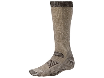 SmartWool Men's Hunting Lightweight Over the Calf Socks Wool Blend Taupe and Brown XL 12-14-1/2