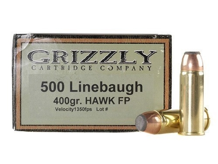 Grizzly Ammunition 500 Linebaugh 400 Grain Hawk Bonded Core Jacketed Soft Point Box of 20