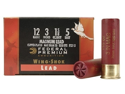 "Federal Premium Wing-Shok Ammunition 12 Gauge 3"" 1-5/8 oz Buffered #5 Copper Plated Shot Box of 25"