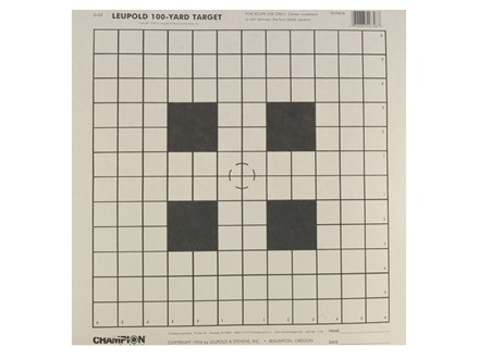 "Champion Official NRA 100 Yard Scope Sighting-In Target 14"" x14"" Paper Package of 12"