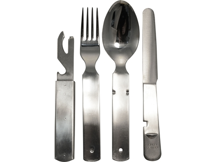 Military Surplus German 4-Piece Stainless Steel Utensil Kit