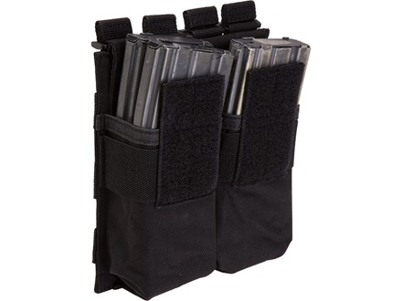 5.11 Stacked Double AR-15 Magazine Pouch with Cover Nylon Black