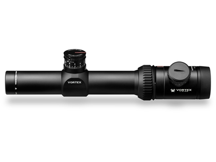 Vortex Viper PST Rifle Scope 30mm Tube 1-4x 24mm 1/2 MOA Adjustments Illuminated TMCQ Reticle Matte
