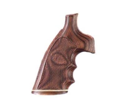 Hogue Fancy Hardwood Grips with Accent Stripe, Finger Grooves and Contrasting Butt Cap Colt 38 SF-VI Checkered Rosewood Laminate