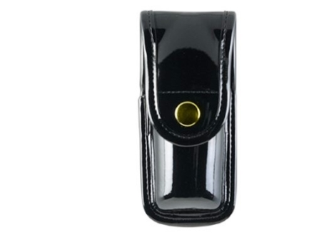 "Bianchi 7907 AccuMold Elite Pepper Spray Pouch Large 7-1/4"" Brass Snap Synthetic Leather High-Gloss Black"