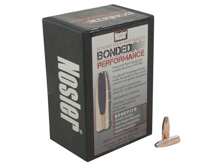 Nosler Bonded Performance Bullets 22 Caliber (224 Diameter) 64 Grain Spitzer Solid Base Box of 100