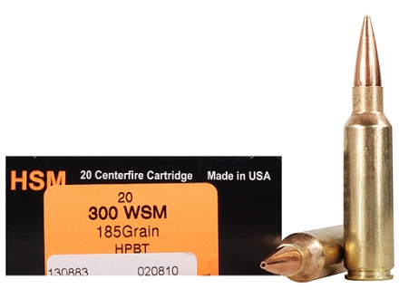 HSM Trophy Gold Ammunition 300 Winchester Short Magnum (WSM) 185 Grain Berger Hunting VLD Hollow Point Boat Tail Box of 20
