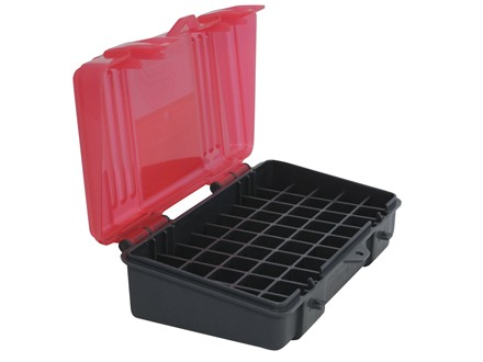 Plano Ammo Box 40 S&W, 10mm Auto, 45 ACP 50-Round Plastic Dark Gray and Clear Rose