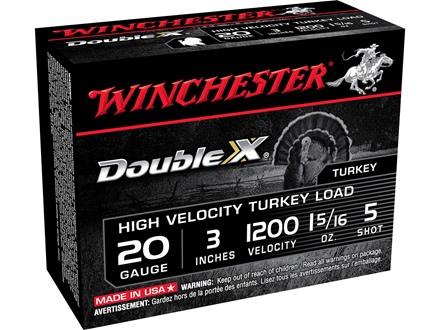 "Winchester Double X Turkey Ammunition 20 Gauge 3"" 1-5/16 oz #5 Copper Plated Shot"