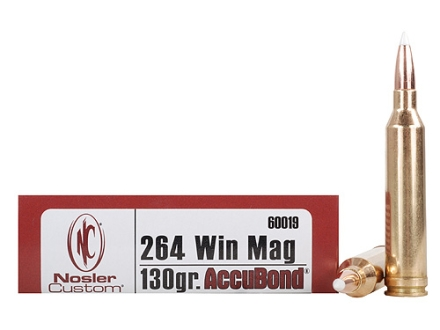 Nosler Trophy Grade Ammunition 264 Winchester Magnum 130 Grain AccuBond Box of 20