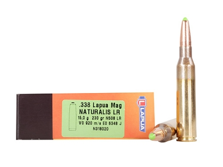 Lapua Naturalis Ammunition 338 Lapua Magnum 235 Grain Round Nose Lead-Free Box of 10