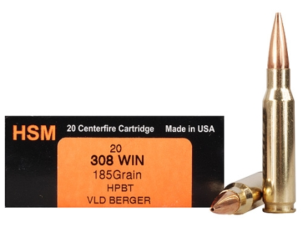 HSM Trophy Gold Ammunition 308 Winchester 185 Grain Berger Hunting VLD Hollow Point Boat Tail Box of 20
