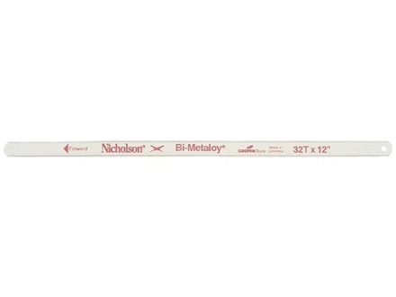 "Nicholson Bi-Metaloy Hand Hacksaw Blades 32 Teeth per Inch 12"" Package of 2"