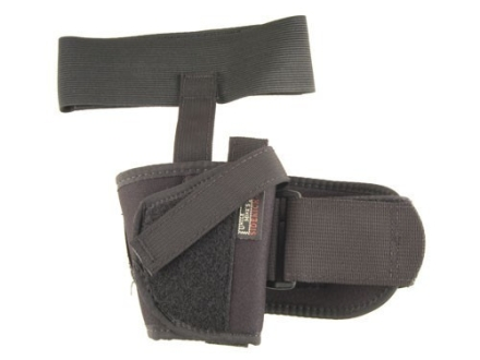 "Uncle Mike's Ankle Holster Left Hand Small Double Action Revolver with Exposed Hammer 2"" Barrel Nylon Black"