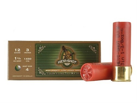 "Hevi-Shot Duck Waterfowl Ammunition 12 Gauge 3"" 1-3/8 oz #4 Non-Toxic Shot"