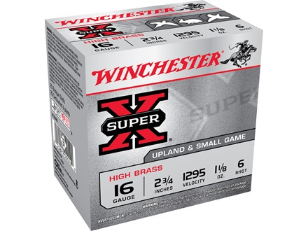 "Winchester Super-X High Brass Ammunition 16 Gauge 2-3/4"" 1-1/8 oz #6 Shot"