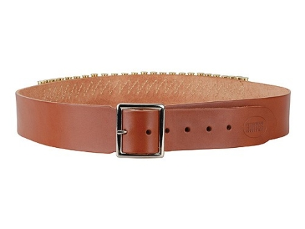"Hunter Cartridge Belt 2"" 45 Caliber 25 Loops Leather Brown Large"