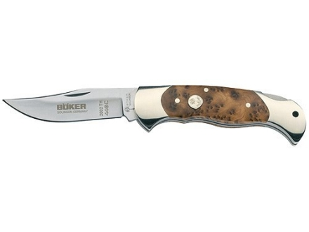 "Boker Thuya Wood Lock Blade Hunter Folding Pocket Knife 3.125"" Drop Point 440C Stainless Steel Blade Wood Handle"