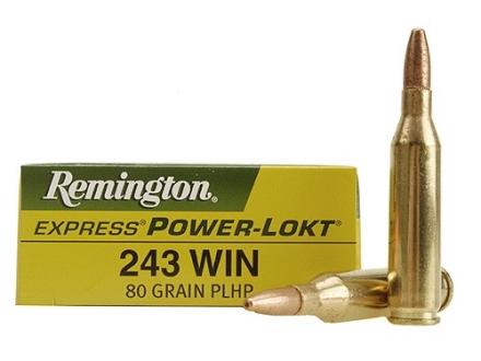 Remington Express Ammunition 243 Winchester 80 Grain Hollow Point Power-Lokt Box of 20