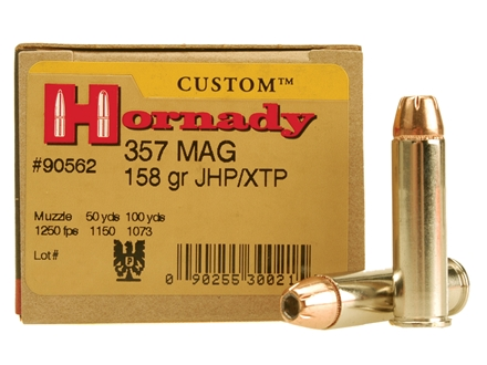 Hornady Custom Ammunition 357 Magnum 158 Grain XTP Jacketed Hollow Point Box of 25