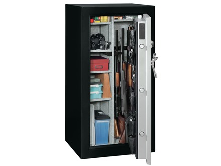 Stack-On Total Defense Fire-Resistant 22-Gun Safe with Combination Lock Matte Black and Silver with Door Storage