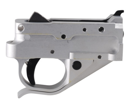 Timney Trigger Guard Assembly Ruger 10/22 2-3/4 lb Aluminum Black Trigger with Silver Lower