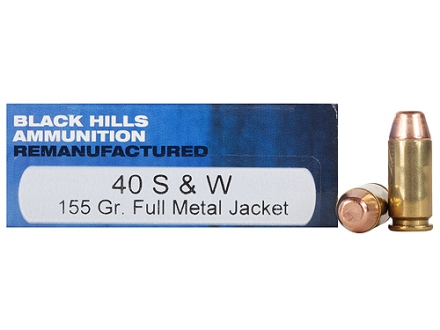 Black Hills Remanufactured Ammunition 40 S&W 155 Grain Full Metal Jacket Box of 50