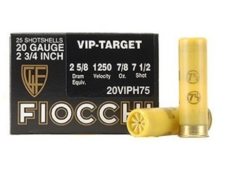 "Fiocchi Exacta Target Ammunition 20 Gauge 2-3/4"" 7/8 oz #7-1/2 Shot"