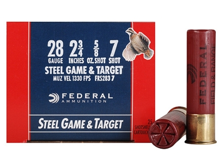 "Federal Game & Target Ammunition 28 Gauge 2-3/4"" 5/8 oz #7 Non-Toxic Steel Shot Box of 25"