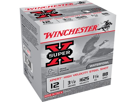 "Winchester Xpert High Velocity Ammunition 12 Gauge 3-1/2"" 1-1/4 oz BB Non-Toxic Steel Shot"